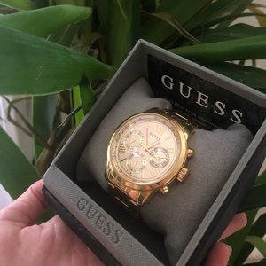 gold GUESS wristwatch